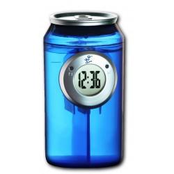 Horloge à eau design canette bleue