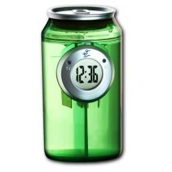 Horloge à eau design canette verte