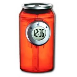 Horloge à eau design canette rouge