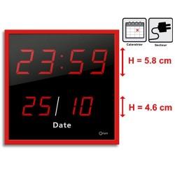 Horloge à date LED - rouge