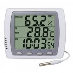 Double thermomètre / hygromètre / Horloge - Grand affichage