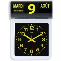 Horloge à date calendrier noire et jaune